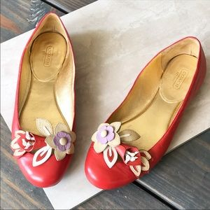 Coach Red Leather Floral Decal Ballet Flats